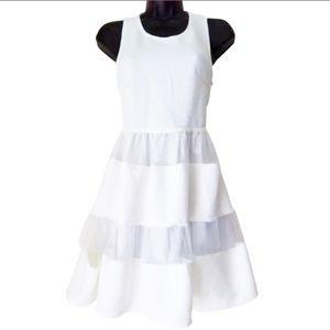DAINTY HOOLIGAN WHITE DRESS SHEER STRIPED